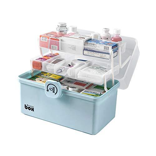 QQRH Hausapotheke Box,Medikamentenbox,apothekerschrank,Multifunktions Sortierkasten mit Griff,Plastik Erste Hilfe Box,Ablagefach Arzneimittelbox Organizer,3 Schicht Groß Medizinschränke Abschließba