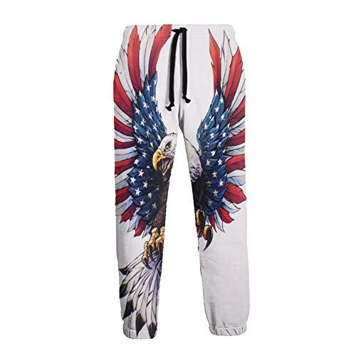Olverz Pantalones deportivos para hombre con bandera de Estados Unidos, cómodos y frescos, con cordón, sueltos