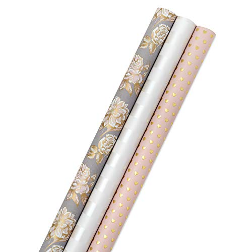 Hallmark Premium Wrapping Paper with Cut Lines on Reverse - Gold Hearts, Rose Flowers, White Stripes (3-Pack: 85 sq. ft. ttl) for Birthdays, Weddings, Mother's Day, Valentine's Day, Bridal Showers