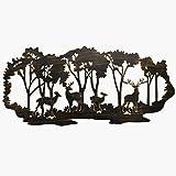 Juegoal Metal Wall Art-Deer in the Forest Wall Decor Hanging for Living Room, Bedroom, Bathroom Indoor Outdoor, 21 x 10 Inch