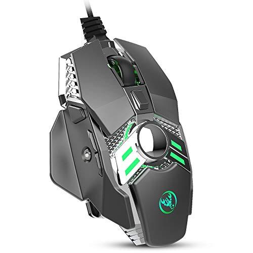 LRHD Gaming Mouse cableado [Pesos extraíbles] [programable] [Luz de respiración] [6400 dpi] Juego ergonómico Ratones de computadora USB con 7 botones 7 Modos de retroiluminación, para Windows PC Gamin