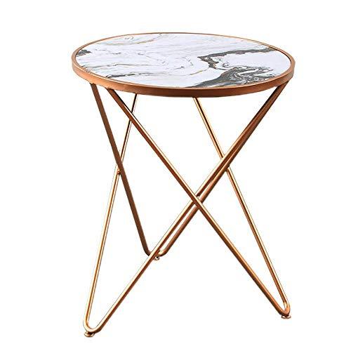 Carl Artbay Home&Selected meubel / metaal, ijzer, kunst bijzettafel ronde salontafel hoektafel marmer bijzettafel 50 x 60 cm (kleur: zwart)