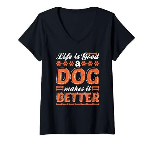 Femme La vie est belle Un chien rend l'adoption d'animaux plus fac T-Shirt avec Col en V