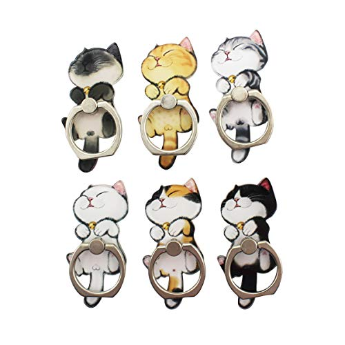 6 Pack Cute Cartoon Cell Phone Ring Holder Stand Metal 360 Rotation Finger Ring Grip Bracket Magnetic Car Mount Compatible with All Smartphone, Tablets
