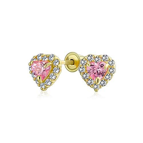 .25Ct Minúsculo Zirconio Cúbico Rosado Corazón Halo Pendiente Boton Adolescente Simulado Topacio Oro Amarillo 14K