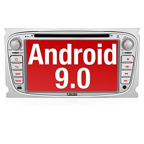 PUMPKIN Android 9.0 Autoradio Radio für Ford mit Navi Unterstützt Bluetooth DAB + CD DVD WiFi 4G Android Auto USB MicroSD 2 Din 7 Zoll Bildschirm Silber