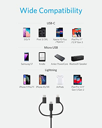 Anker Powerline II 3-in-1 Kabel, 0.9m langes Lightning/USB-C/Mikro-USB Kabel, für iPhone, iPad, LG, Galaxy, Xperia, Android Handys und viele mehr (Schwarz)