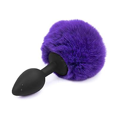 KIMMAO Bunny B-?tt Rabbit Tail Hair Ball Silica Gel Handle Fox Men Women Tail Plug (Black Handle Purple)