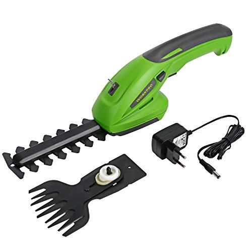 WORKPRO Akumulatorowe nożyce do trawy i krzewów, poręczne nożyce do trawy z akumulatorem litowo-jonowym 7,2 V 1500 mAh, w zestawie 2 różne noże