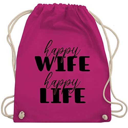 Shirtracer Sprüche - Happy Wife Happy Life Lettering Combi schwarz - Unisize - Fuchsia - turnbeutel spruch - WM110 - Turnbeutel und Stoffbeutel aus Baumwolle