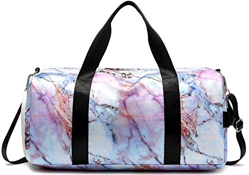 Sport Gym Duffle Travel Bag for Men Women Weekender Overnight Tote with Shoe Compartment, Wet Pocket (S-Marble 5)