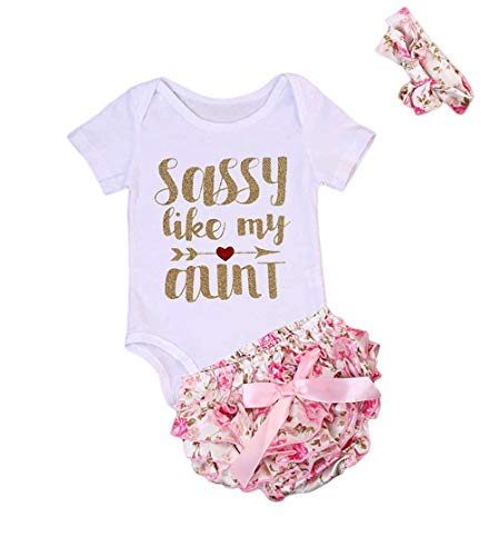 3 Pcs Newborn Baby Girls Romper Bodysuit + Bow-Knot Floral Bloomer + Headband Outfits Set(3-6M, White with Shorts)