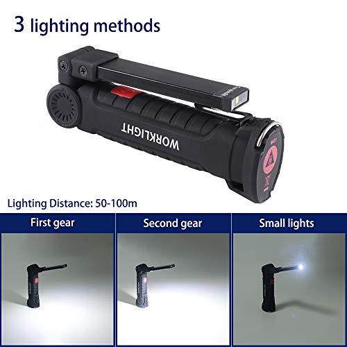 ONEVER linterna el/éctrica recargable USB Luz del trabajo de la linterna LED port/átil para n/áutico COB magn/ético Gancho de camping exterior autofficina l/ámpara 1PC