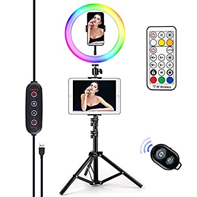 "Letyet 10"" RGB Selfie Ring Light with Tripod S..."