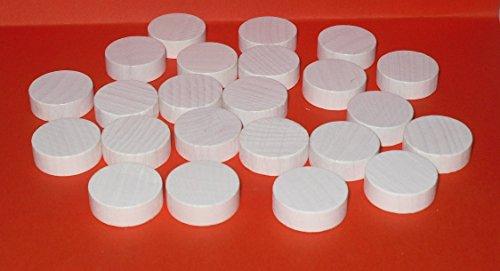 G&S 100 Spielchips , Roulette Spielmarken , Zählchips aus Holz , weiß , 21mm x 7mm