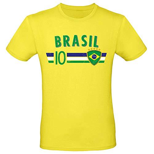 Shirt-Panda Fußball WM T-Shirt · Fan Artikel · Nummer 10 · Passend zur Weltmeisterschaft · Nationalmannschaft Länder Trikot Jersey für 2022 · Herren Damen Kinder · Brasilien Brasil Brazil XL