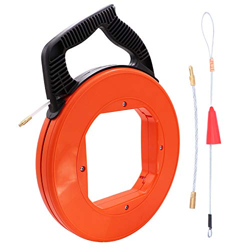100 FT Electrical Fish Tape Reel Pull Push Kit with High Impact Case and 1pcs Wire Grip for Electric or Communication Wire Puller