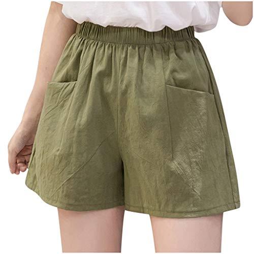 ZARU Damen Grün Slim Fit Shorts Hotpants, Frauen Mädchen Sommer Wide-Bein Kurze Hosen Sommer Mini Kurze Latzhose Overalls mit Gürtel und Taschen (S, Grün)