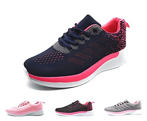 Zapatillas Deportivas Mujer Running Ligero Malla Transpirable con Cordones Zapatillas de Deporte para Mujeres Fitness Correr Atletismo Caminar Andar Gimnasia Azul 38