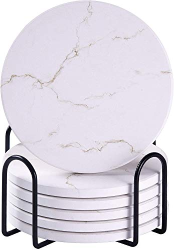 Untersetzer für Getränke, saugfähige Untersetzer mit Halter, Weiß Keramik-Untersetzer im Marmor-Stil mit Kork-Basis, verwendet für Bars, Couchtisch-Deko, Haus oder Wohnzimmer-Deko (6er-Set)