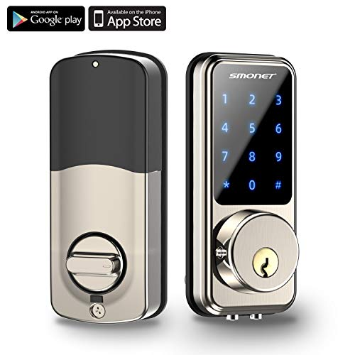 Smart Lock,SMONET Keyless Entry Door Lock,Remote Lock/Unlock for Home Security,Easy Install ,Voice Control,Touchscreen Keypad Deadbolt Lock ,Bluetooth Electric Deadbolt with Passcode for Hotel,Office