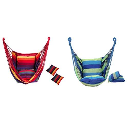 Yousiju 2 Stück Hängesessel Hängesessel Schaukelstuhl Sitz mit Kissen für Innen, Außen, Garten - Blau & Regenbogen