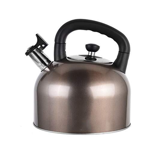 Gas-Erdgas-Kessel-304 Edelstahl-Pfeifen-Haushalts-große Kapazitäts-Küche verdickte Heißwasser-Flasche 4L WHLONG (Farbe : Brown)