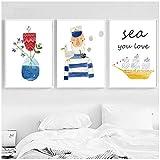 Vivero Acuarela Dibujos animados Flor Velero Marinero Arte de la pared Lienzo Pintura Carteles e impresiones Cuadros para niños-50x70cmx3pcs Sin marco