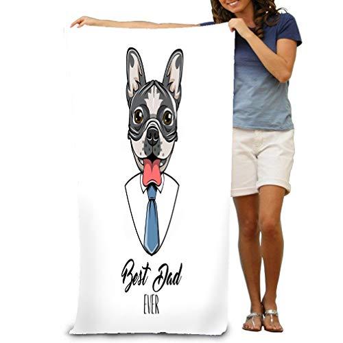 Bath Towel Beach Towels Super Soft Ultra Absorbent French Bulldog Fathers Day Necktie tie Best dad Ever Dog Portrait Bathroom Accessories Bath Set for Men Women Kids