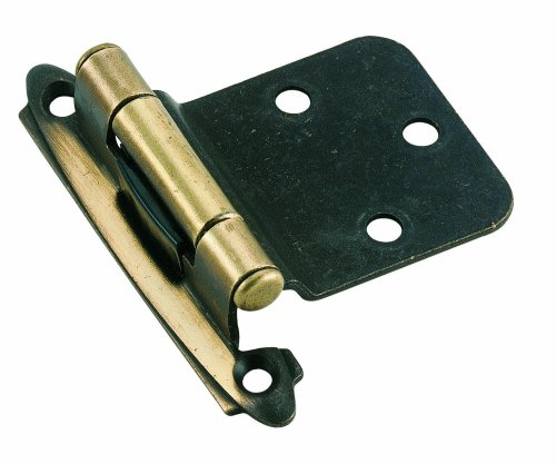 Amerock BPR7630AE Variable Overlay Self-Closing, Face Mount Antique Brass Hinge - 2 Pack