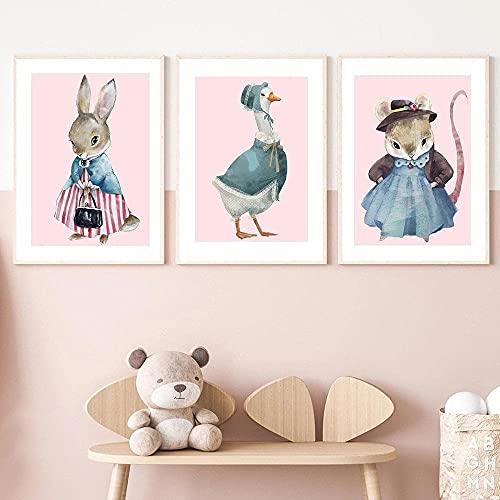 zuomo 3 Piezas Lindo Cuento de Hadas Animales Lienzo póster Conejo ratón Pato Pared Arte Impresiones nórdico guardería niñas Dormitorio decoración Pintura 50x70cm sin Marco