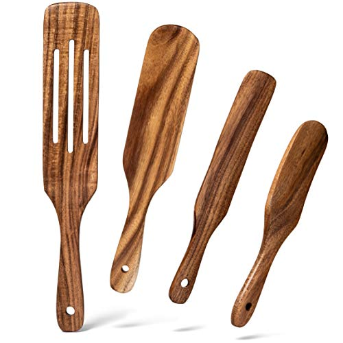 Gennua Kitchen Wooden Spurtle Set: 4 Natural Teak Spurtles for Stirring, Mixing, Scooping, Scraping & More, Wood Kitchen Utensils Set with Slotted, Medium, Mini & Slim Spoon-Spatula Spurtles