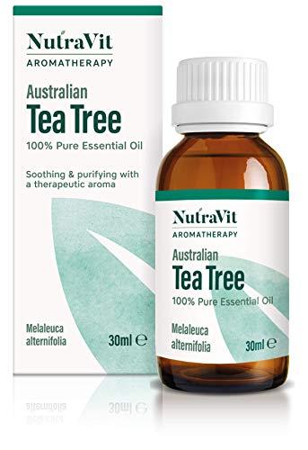 NutraVit - Australian Tea Tree Oil   100% Pure Tea Tree Essential Oil - 30ml - Therapeutic Grade Aromatherapy Oil - Diffusers, Humidifiers, Hair, Skin, Acne & Face Wash