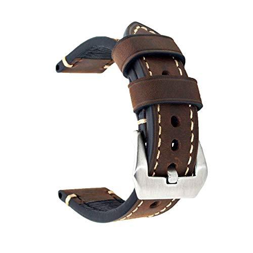 Ersatz-Uhrenband, echtes Leder, für Armbanduhr, Vintage-Stil, für Herren/Frauen, mit Edelstahlschnalle, schwarz/braun, 20mm/22mm/24mm, dunkelbraun, 22 mm