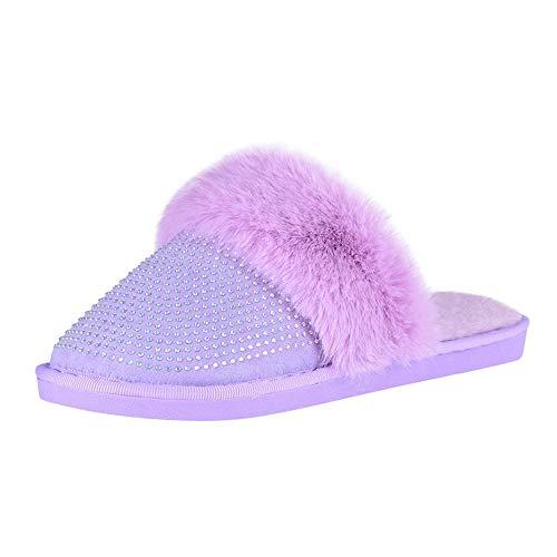 Pantofole da donna soffici, con strass e cristalli, per casa, da donna, antiscivolo, per interni ed esterni Viola Large