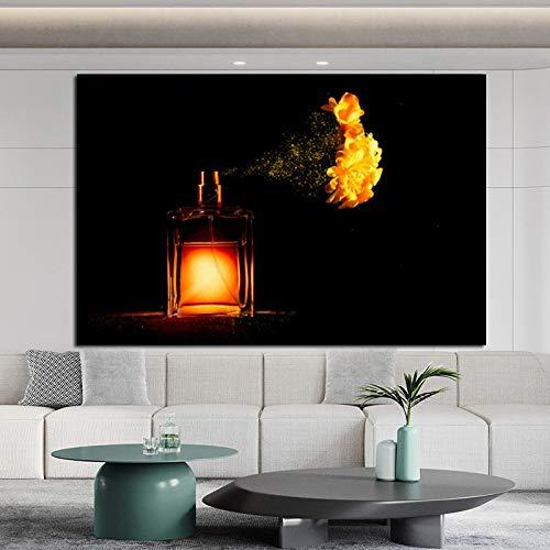 Yulernka Lienzo artístico Pintura de Pared Perfume y Cuadro de Flores póster Abstracto para Pinturas de decoración de Pared 40x60cm