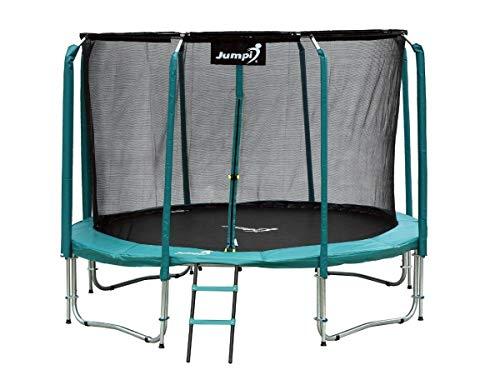 Trampolín 244cm,entretenimiento familiar,de jardín 8 FT Maxy Comfort, recinto de seguridad con malla interior especial,muelles de césped, escalera, colchoneta para saltar, para niños y adultos (Verde)