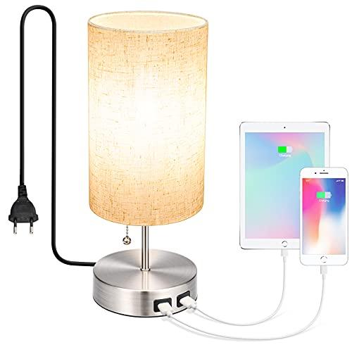 Lámpara de Mesa Lámpara de Noche LED E27 Regulable, Doble USB Puerto, Lámpara de Lectura Lámpara de Mesita 8W 2700K, Luz de Noche, Lámpara de Noche para Dormitorio, Oficina, Habitación Infantil