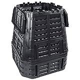 Ksodgun Compostador de jardín Compostador con Capacidad Compostera Organica Producción Humus abono Negro 93,3x93,3x113 cm 740 L