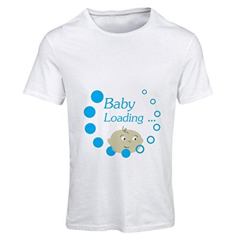 lepni.me Camiseta Mujer bebé está Cargando por Favor Espera - Ideas de Anuncio de Nacimiento (Medium Blanco Multicolor)