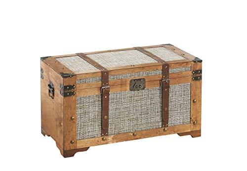 Kobolo Truhe Schatztruhe Piratentruhe Crusoe - Holz mit Stoffbezug - Beige - 70x35x38 cm