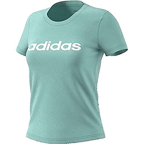 adidas W E Lin Slim T Maglietta da Donna, Donna, Maglietta, FM6424, matver/Bianco, S