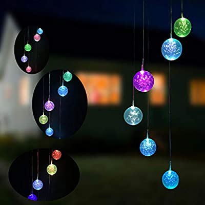 Eleven Direction Solar Wind Chimes Changing Colors Bulb Lights,Waterproof Bubble Ball Mobile for Garden Yard Lawn Patio Outdoor Party Decorations