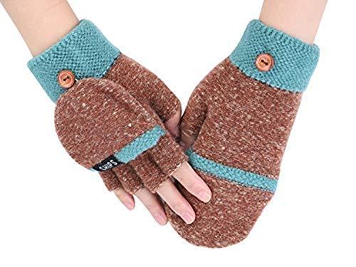 Handschuhe Mädchen Flap Gloves Touchscreen Fingerhandschuhe Outdoor Indoor Strickhandschuhe Fingerlose Kinderhandschuhe Verdickte Winterhandschuhe Warme Handschuhe für Shule Sport Fahrrad