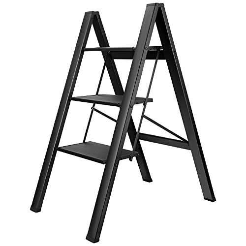 Escaleras Plegables Antideslizantes de 3 Escalones Vogvigo Escalera Plegable de Aleación de Aluminio con Soporte de Carga de 200 kg Escalera Plegable Multifuncional para el Hogar/Soporte de Flores