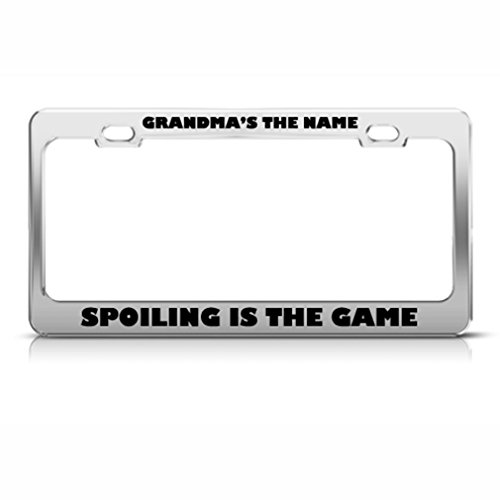 Nom de grand-mère qui le jeu Cadre étiquette en métal inoxydable support de plaque d'immatriculation