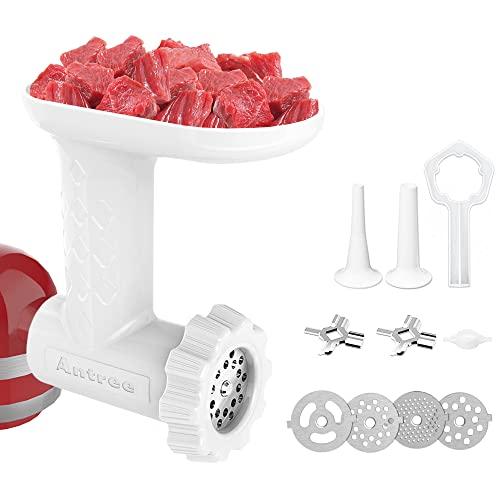 Antree Fleisch-Schleifer-Zubehörsitze für KitchenAid Standplatz-Mischer - mit 4 Schleifen-Platten 2 reiben Sie Blätter 2 Wurst-Kühlerstutzen