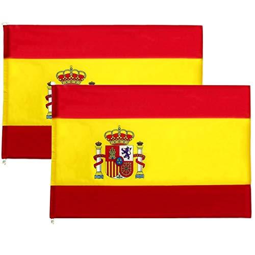DS HOME Bandera de España Grande Pack de 2 Banderas de España Grande 90 x 120 cm Bandera Balcón Resistente Impermeable Bandera con Escudo Bandera Española