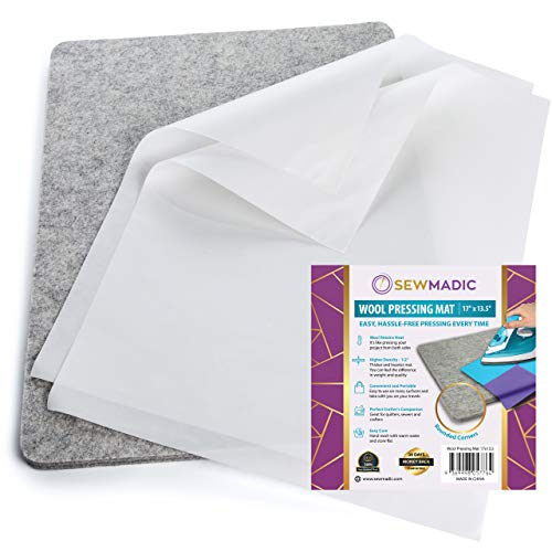 """Wool Pressing Mat for Quilting, 17"""" x 13 ½"""" - Thick Quilters Ironing Pad for Embroidery and Patchwork - Professional Supplies, Notions, and Accessories, for Sewing Quilts"""