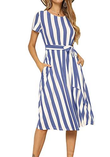 levaca Womens Casual Striped Loose Flowy Belt Tunic Work Midi Dress Light Blue L